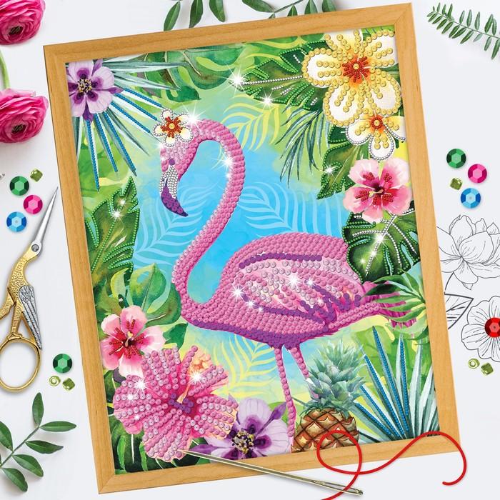 Вышивка бисером и пайетками «Фламинго», 28 × 35 см. Набор для творчества