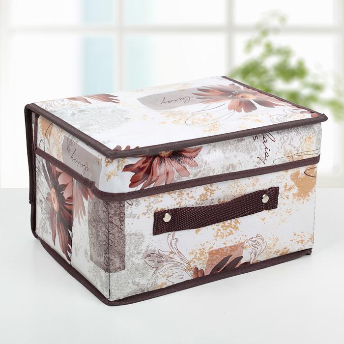 """Короб для хранения с крышкой 26×20×16 см """"Астра"""", цвет коричневый"""