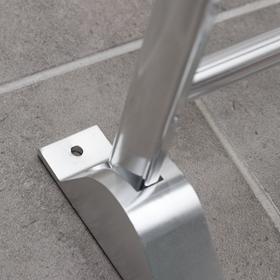 Полка откидная с держателем полотенец, 5 крючков, 58×23×15 см, алюминий - фото 4650979