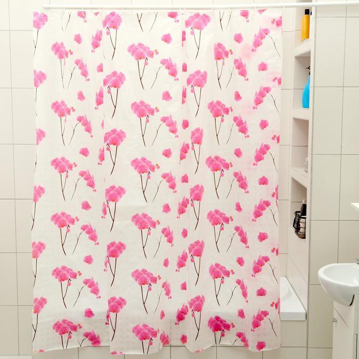 """Штора для ванной 180×180 см """"Орхидея"""","""