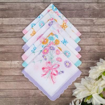 Набор женских носовых платков 45450-3 Etteggy (6шт) 30х30см печать полотняное 66г/м, хл100%   328969