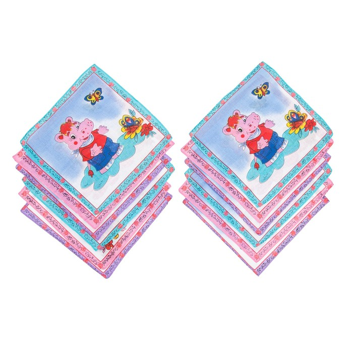 Набор детских носовых платков Melagrana, 20х20 см- 12шт, ситец