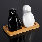 """Набор для специй 50 мл """"Эстет. Пингвины"""", на деревянной подставке, 2 шт"""
