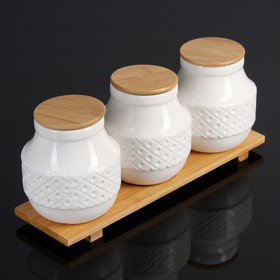 Набор банок для сыпучих продуктов «Эстет. Орнамент», 1 л, 3 шт, на деревянной подставке