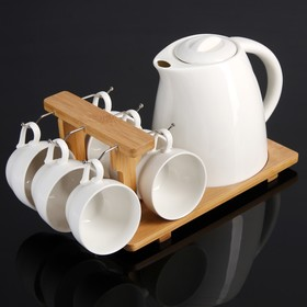 The tea set on a wooden stand, Estet, 7 items: kettle 2 liter, 6 cups, 210 ml