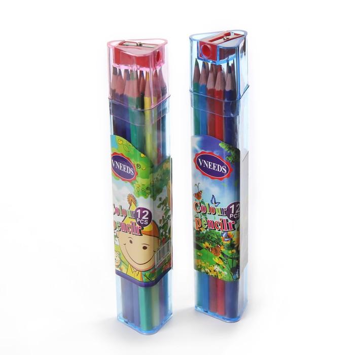 Карандаши 12 цветов, в пластиковом тубусе с точилкой, «Ассорти» - фото 8442315