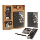 """Подарочный набор """"С уважением!"""": ежедневник, блокнот, футляр с бумажным блоком и ручка"""