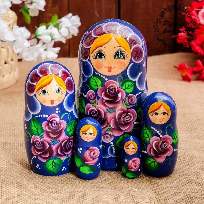 Матрёшка «Фиалочка», синее платье, 5 кукольная, 18 см