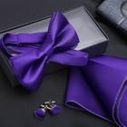 """Набор джентльмена """"Запонки/платок/галстук-бабочка"""", цвет фиолетовый"""
