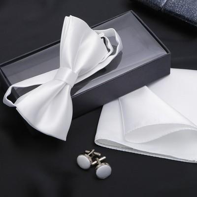 "Набор джентльмена ""Запонки/платок/галстук-бабочка"", цвет белый"