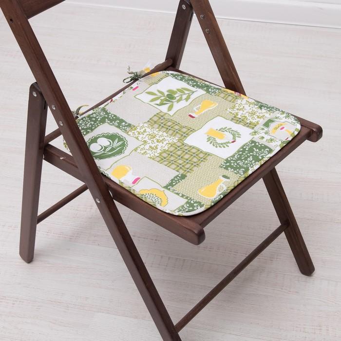 Подушка на стул с завязками «Греция», 35х38 см, бязь 125г/м, хл100%