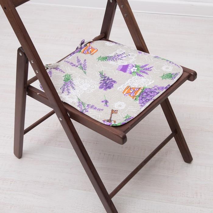 Подушка на стул с завязками «Лаванда», 35х38 см, бязь 125г/м, хл100%