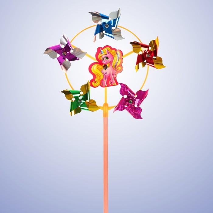 Ветерок с фольгой «Пони», 42 см - фото 995126
