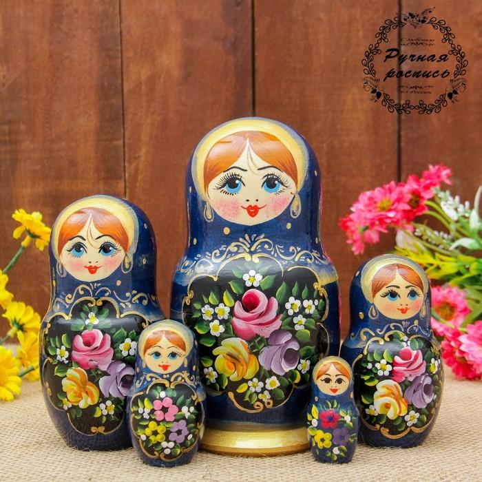 Матрёшка «Жостово», синий платок, 5 кукольная, 17 см