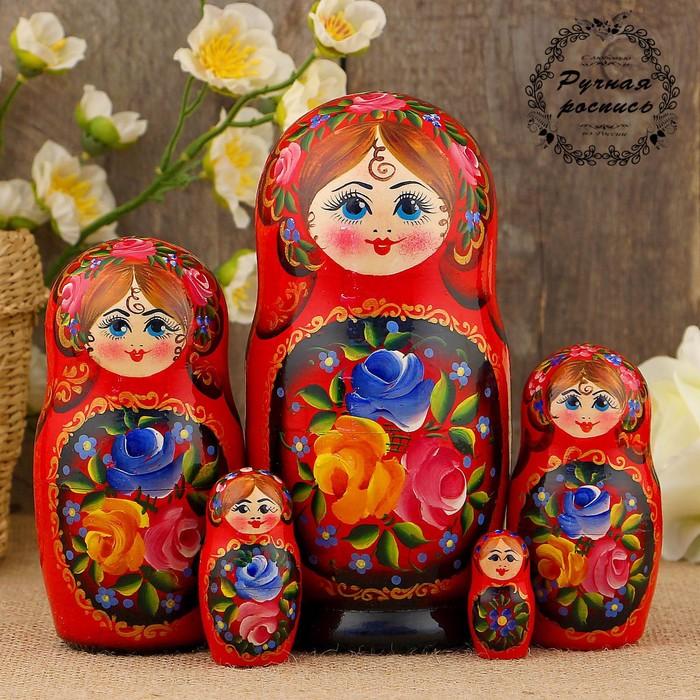 Матрёшка «Жостово», красный платок, 5 кукольная, 17 см