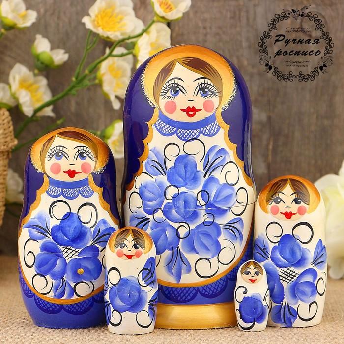Матрёшка «Гжель», сине-белый платок, 5 кукольная, 17 см