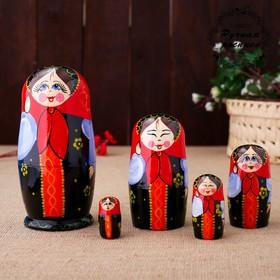 Матрёшка «Катюша», красный платок, 5 кукольная, 17 см