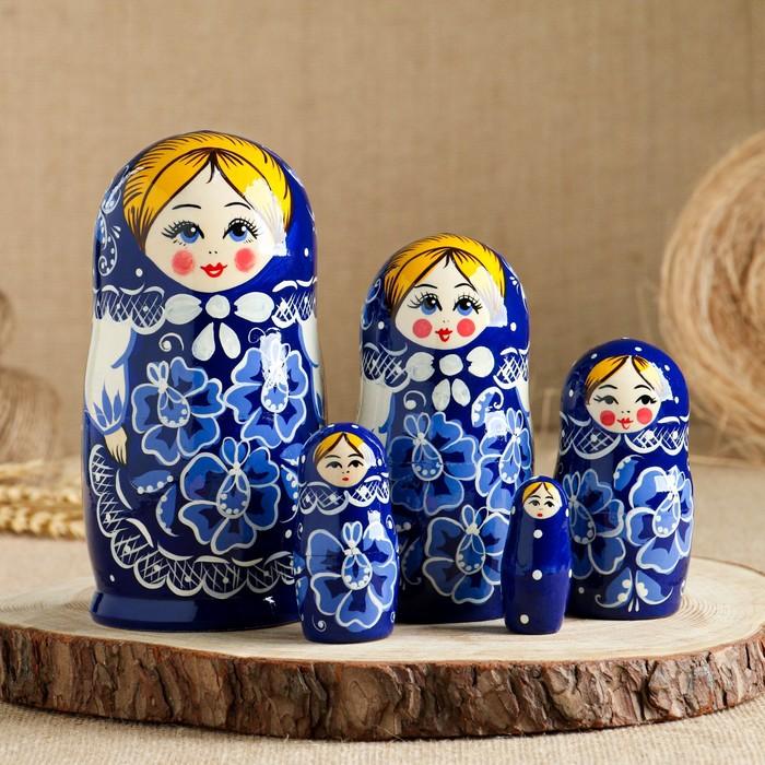 Матрёшка «Гжель», синий платок, 5 кукольная, 17 см - фото 8442350