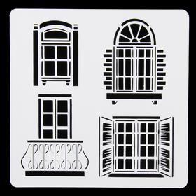 "Stencil plastic ""Art module"" Window 15x15 cm"