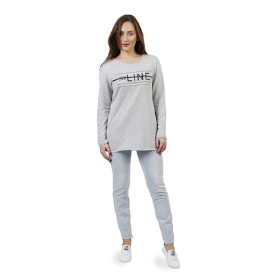 Туника женская Line on/of, размер 48, цвет серый меланж