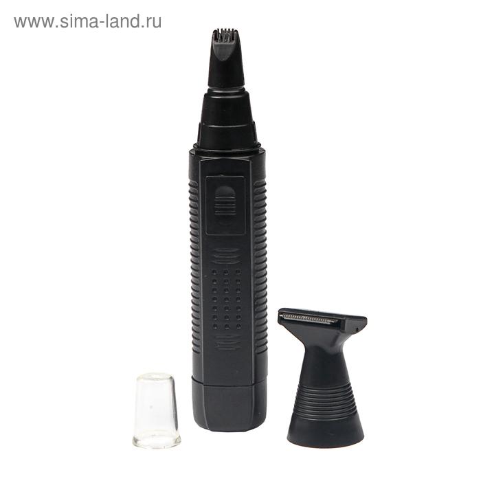 Триммер для волос и бороды LuazON LBR-08, 2 насадки, от 1*АА (не в комплекте), чёрный
