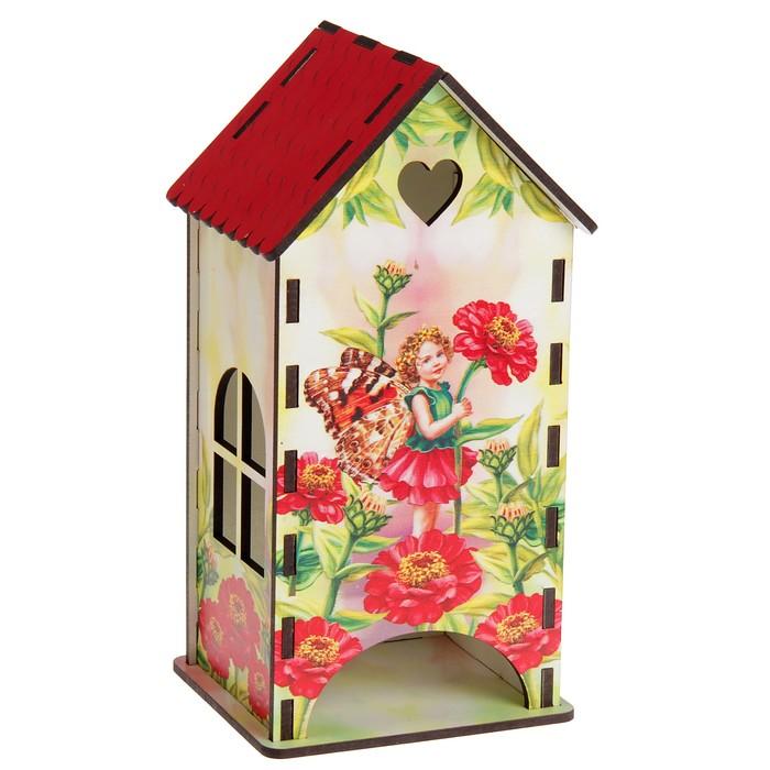 Чайный домик «Маленькая эльфийка и красные цинии», 9,3х9,3х20 см