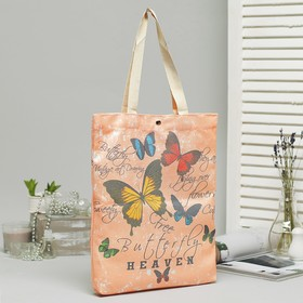 Bag, textile, Butterfly 34*3*37, otd on the magnet, no padding, beige