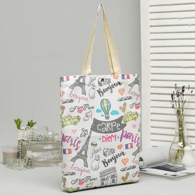 Bag textile City, 34*3*37, otd on the magnet, no padding, white