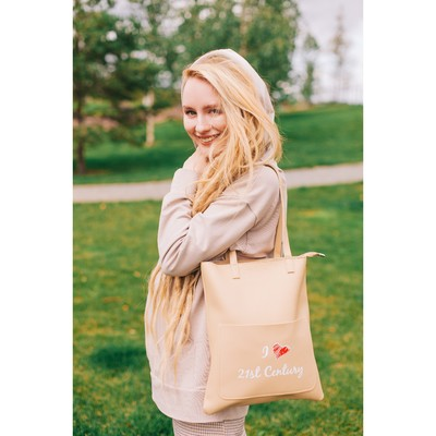 Bag, Department, zippered, outer pocket, beige