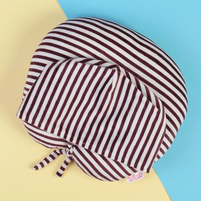 Антистресс-подголовник с капюшоном в полоску