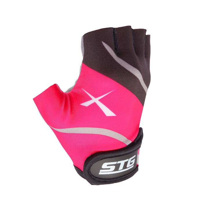 Перчатки велосипедные, размер L, цвет чёрный/розовый