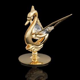 Сувенир «Лебедь», 4,5×4.5×5 см, с кристаллами Сваровски, 5 см