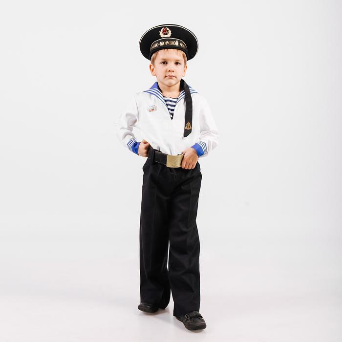 Костюм моряка для мальчика, фланка, тельняшка, брюки, бескозырка, ремень, рост 152 см