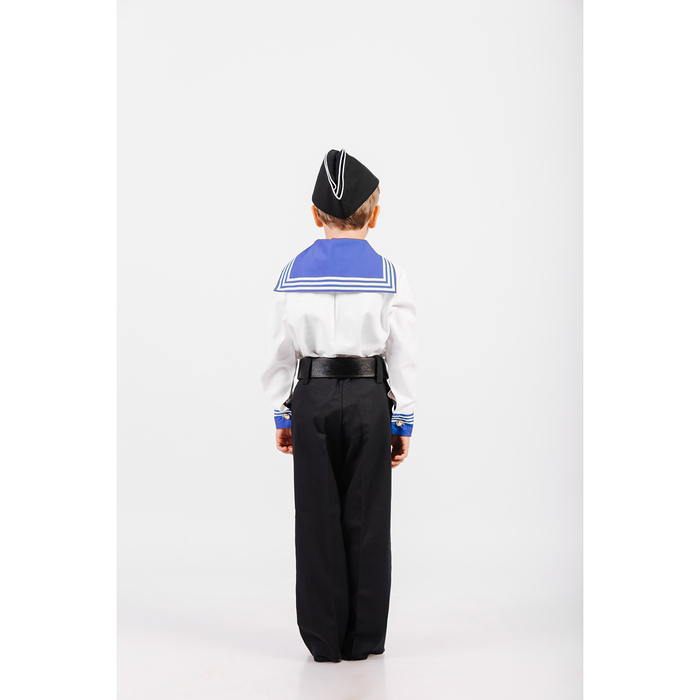 Костюм моряка: фланка, тельняшка, брюки, пилотка, ремень, рост 122 см