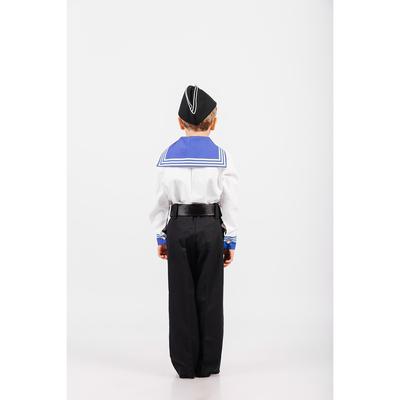 Костюм моряка: фланка, тельняшка, брюки, пилотка, ремень, рост 134 см