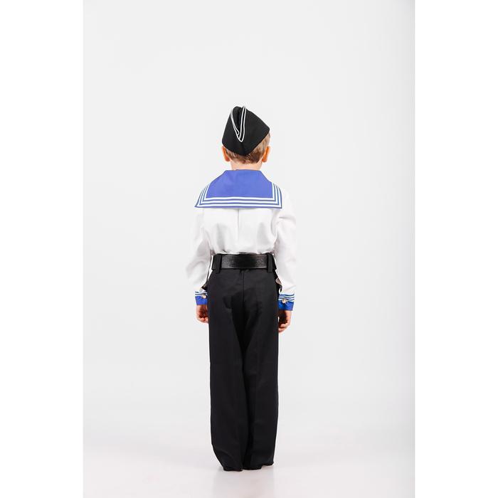 Костюм моряка: фланка, тельняшка, брюки, пилотка, ремень, рост 140 см
