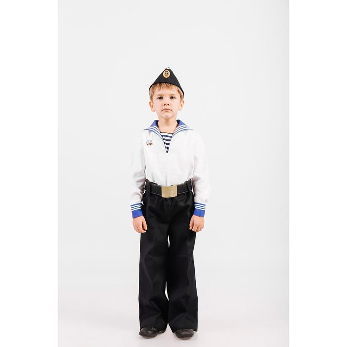 Костюм моряка: фланка, тельняшка, брюки, пилотка, ремень, рост 152 см