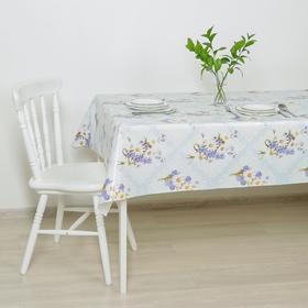Клеёнка столовая на тканой основе «Букет ромашек», 1,25×25 м, цвет голубой
