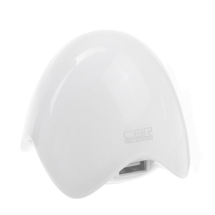 Разветвитель USB (Hub) CBR CH 202, 3 порта, подсветка, белый,