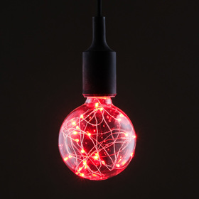 "Лампа светодиодная декоративная ""Шар"", G95, 3 Вт, E27, 135х95, красный"