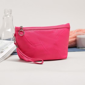 Cosmetic bag simple, division zipper, color pink