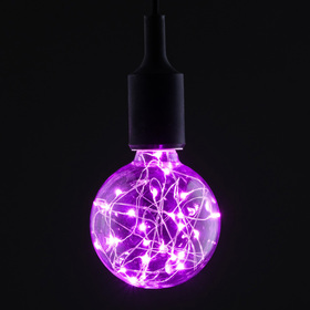 "Лампа светодиодная декоративная ""Шар"", G95, 3 Вт, E27, 135х95, розовый"