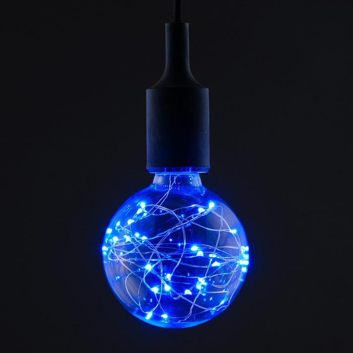 """Лампа светодиодная декоративная """"Шар"""", G95, 3 Вт, E27, 135х95, синий"""