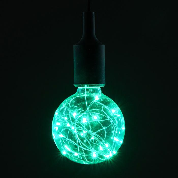 "Лампа светодиодная декоративная ""Шар"", G95, 3 Вт, E27, 135х95, зеленый"