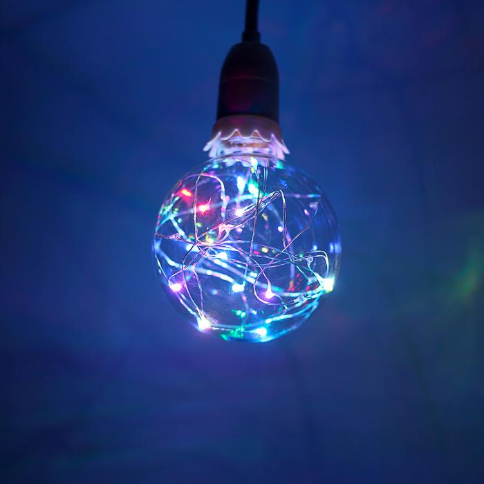 """Лампа светодиодная декоративная """"Шар"""", G95, 3 Вт, E27, 135х95, RGB ( 7 цветов)"""