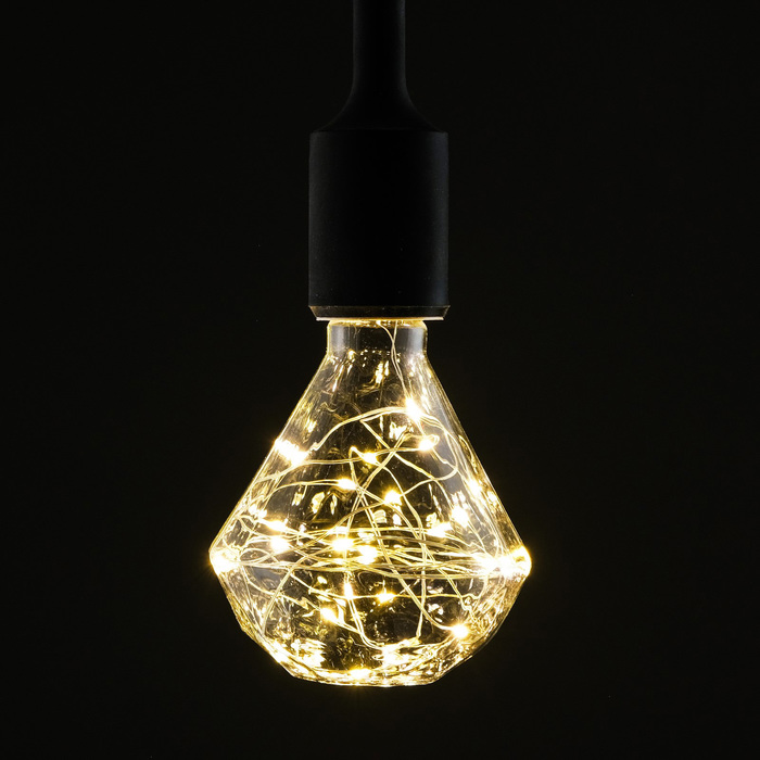 "Лампа светодиодная декоративная ""Алмаз"", G95, 3 Вт, E27, 135х95, теплый белый"