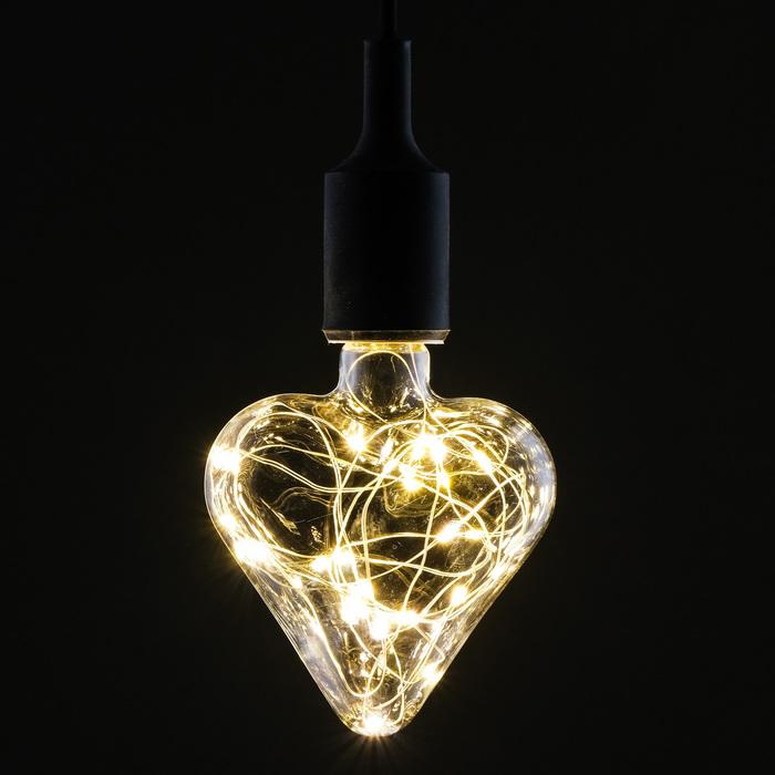 "Лампа светодиодная декоративная ""Сердце"", G90, 3 Вт, E27, 140х90, теплый белый"