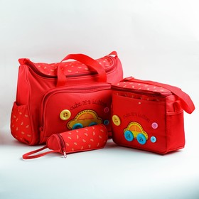 A set of bags for baby things, 2 PCs, with changing Mat and bottle cover, color red