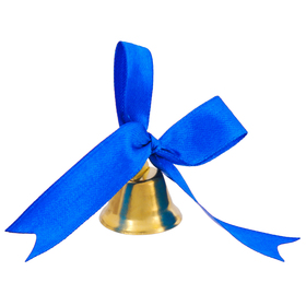 The bell outlet with dark blue curly bow
