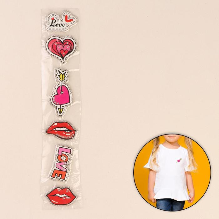 Термоаппликация со стразами «Губы, сердце, love», 5 × 5,5 см, 6 шт на листе, цвет МИКС - фото 689576